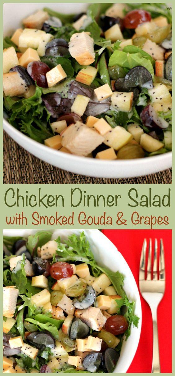 Smoked gouda, savory chicken, and tart grapes make this easy dinner salad irresistible!