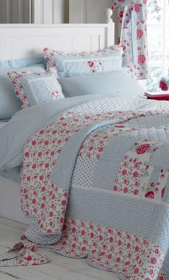 Anne Blue Pink Patchwork Quilt Bedspread