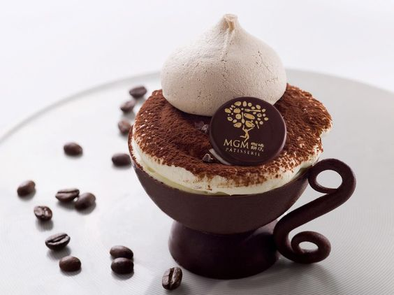 MGM MACAU- I will be in Heaven! For sheer indulgence, why not try the lovely Mascarpone Mousseline and Italian Espresso fingers served in our homemade chocolate coffee cup?