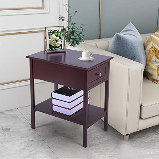 Sofa Side End Table 2 Tier Narrow Nightstand W Drawer And Open Shelf 1 Drawer Narrow Bedside Table Slim In 2020 Narrow Side Table End Tables With Drawers End Tables