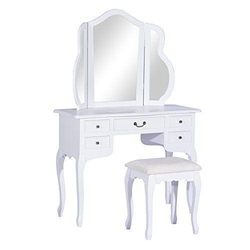 schminktisch mit hocker frisierkommode frisiertisch antik wei landhaus ad28 sch nes wohnen. Black Bedroom Furniture Sets. Home Design Ideas