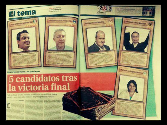 Perfiles de los candidatos a la gubernatura de Jalisco presnetadas como cartas de Yu Gi Oh