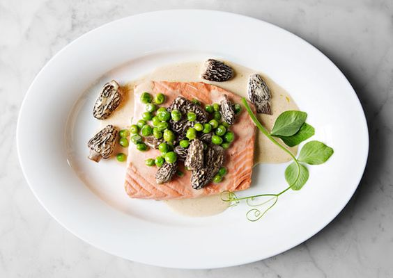 poached wild salmon with peas + morels