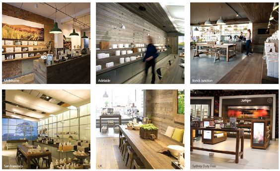 Jurlique: farm wood industrial look