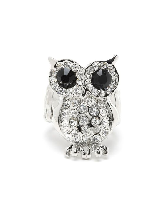 Rhinestone Owl Cocktail Ring - Silver