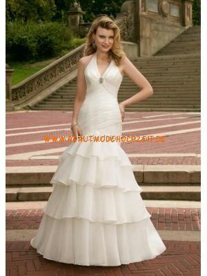 Geschichtetes schönes Brautkleid aus Organza Bodenlang V-Ausschnitt