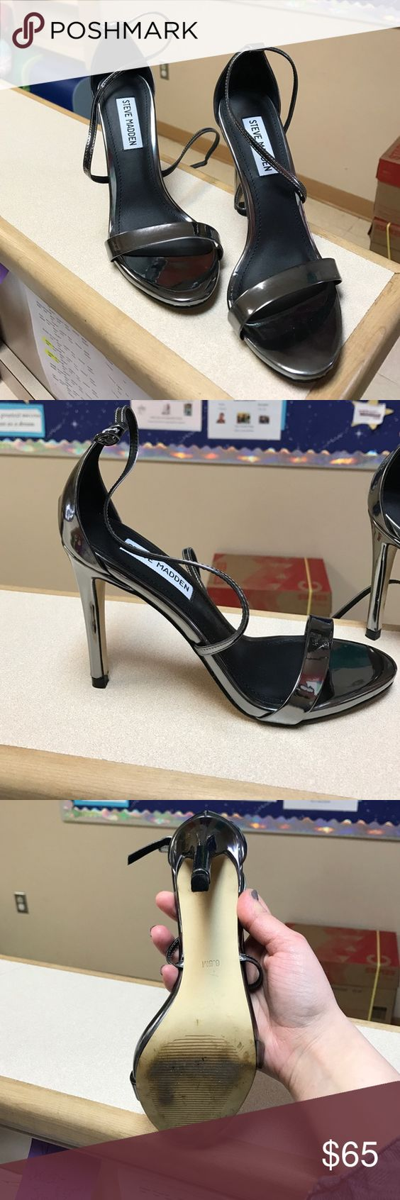 Steve Madden 6.5 pewter/silver heels worn once