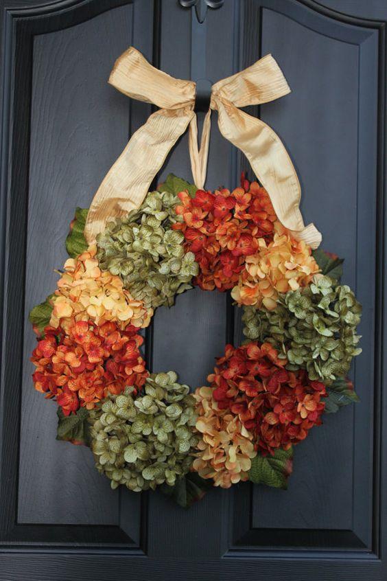 Summer Wreaths - Monogram Wreaths - Fall wreath - Floral wreath - Hydrangea Wreath - Autumn Wreath- Wreath for door - Door Wreath