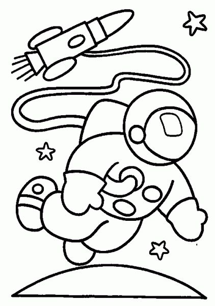 Astronaut and Rocket In Space Coloring Pages | Space ...