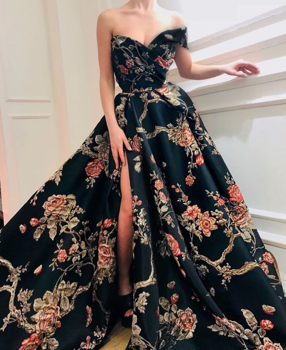 2019 New Fashion Print Long Prom Dress Off The Gowns Off Shoulder Evening Dress Dresses