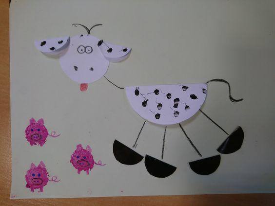 Krowa origami świnki z korka od wina Zwierzęta wiejskie DIY ART ACTIVITIES FOR KIDS