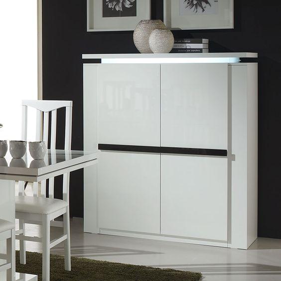 Buffet haut blanc et noir laqué lumineux design LUMINA