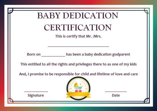 Baby Dedication To Godparents Certificates 10 Free Printable And Customizable Templates Template Sum God Parents Baby Dedication Baby Dedication Certificate