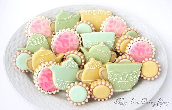 Tea+Party+Cookies+Wedding+Shower+Flower+Lace+by+HappyLorisBaking,+$42.00