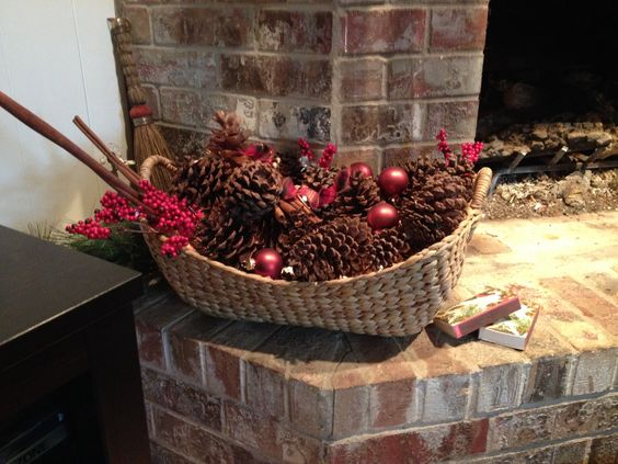 Add a string of lights to a basket of pine cones