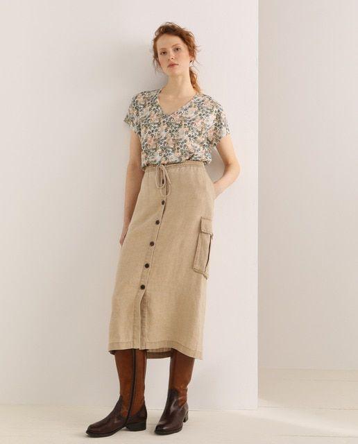 Lloyd S Falda Midi 100 Lino En 2020 Camisetas Mujer Faldas Moda