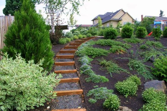 side yard landscaping ideas steep hillside | Sloped Lot House Plans