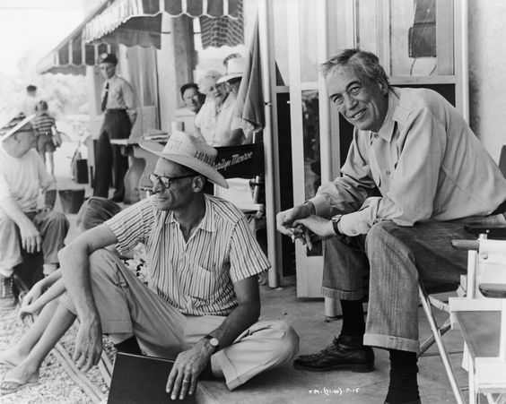Arthur Miller and John Huston on the set of The Misfits (1961).    John Huston   AKA John Marcellus Huston   Born: 5-Aug-1906 Birthplace: Nevada, MO   Died: 28-Aug-1987 Location of death: Middletown, RI   Cause of death: Emphysema