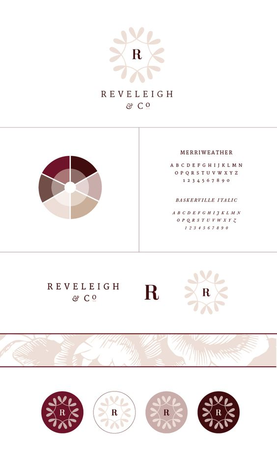 New Brand + Website Design for Reveleigh & Co. | Burgundy mauve classic branding