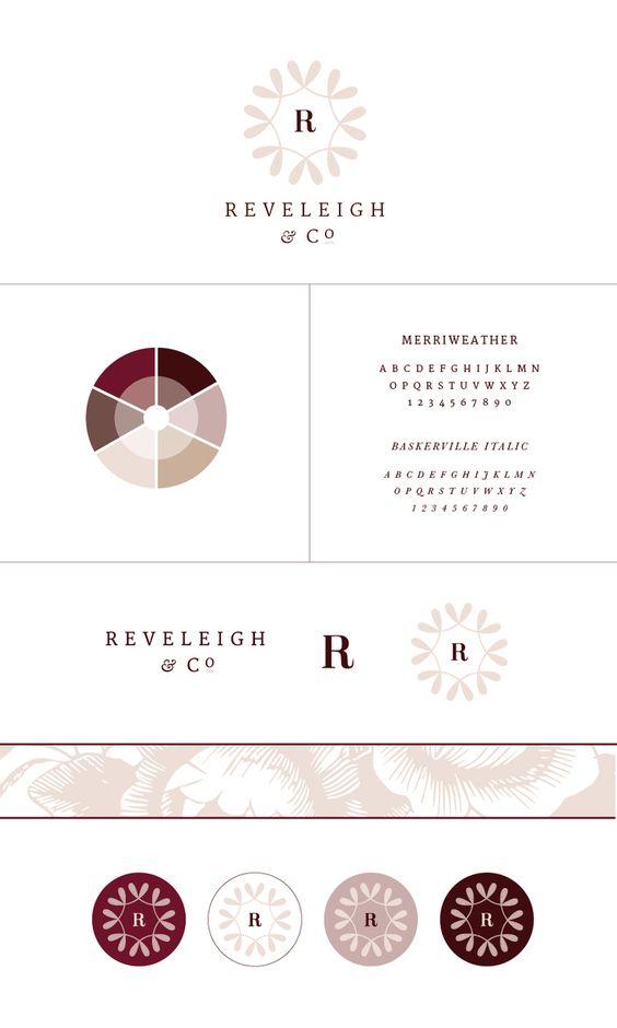 New Brand + Website Design for Reveleigh & Co.   Burgundy mauve classic branding
