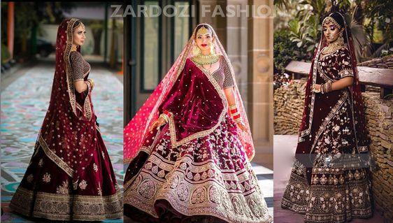 Maroon Bridal Lehenga Designer Velvet