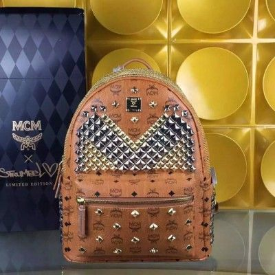 MCM Medium Stark Exclusive M Studded Backpack In Brown