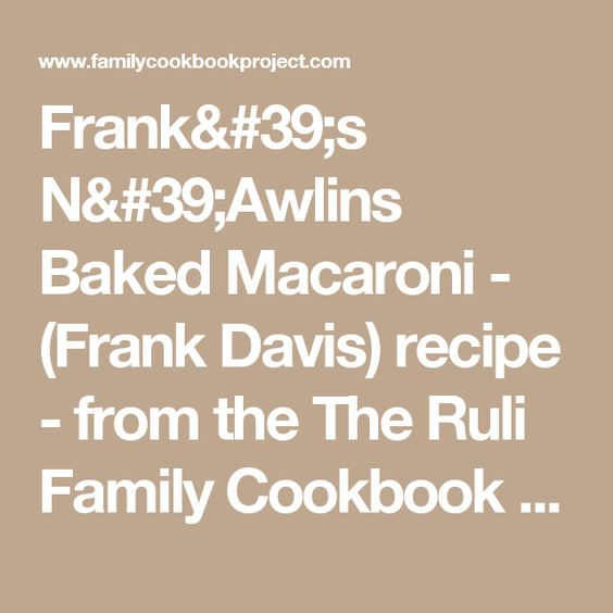 What is a good recipe from Frank Davis?