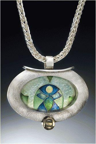 Lillian Jones - Enamel Jewelry, enamel pendant, enamel necklace, blue and green pendant