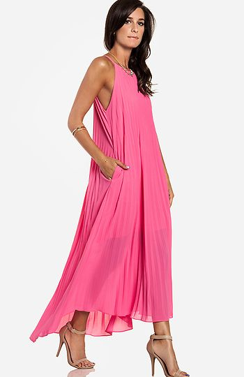 Line & Dot Pleated Maxi Dress: