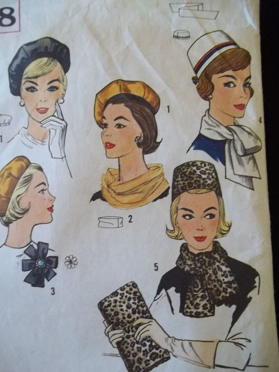 Vintage Simplicity 4178 early 60's Sew Pattern Hats Beret Pillbox Scarf Purse