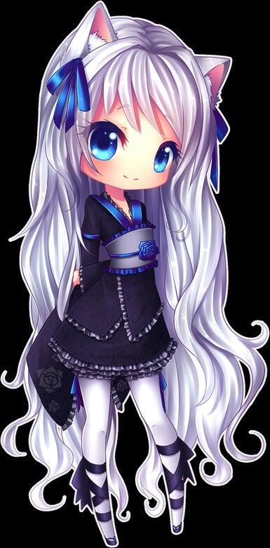 Cute Chibi Anime Girl , silver hair, white, cat, kitty, kawaii,