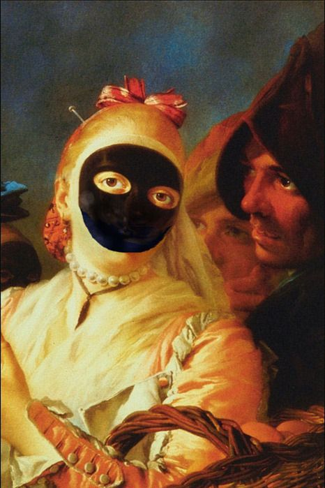 The Moretta or Servetta Muta (trans: dumb maid-servant) is a black velvet, oval shaped mask that was worn by Venetian ladies. Covering all but the outer edge of the face, the Moretta was secured to the wearer by way of a small bit that was held in place by the teeth.     By the 18th centaury the use of the Bauta and Moretta masks to conceal the identity of ladies and gentlemen in the gambling houses (Il Ridotti) of Venice had become commonplace.: