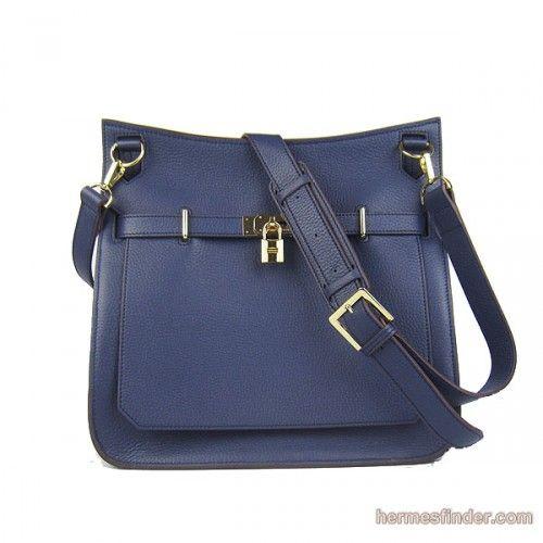hermes jypsiere unisex leather shoulder navy blue bag | Navy Blue ...