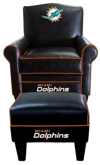 Miami Dolphins Leather Game Time Chair And Ottoman 655 58