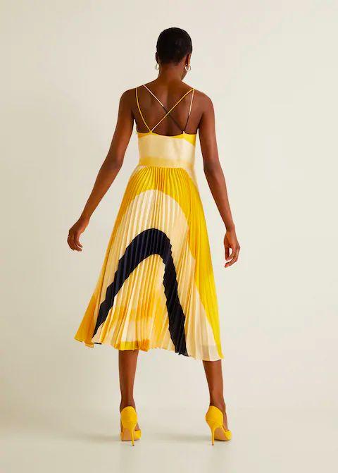 Robe plissée imprimée - Femme | Mango France