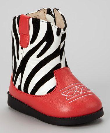 Another great find on #zulily! Black & Red Zebra Squeaker Cowboy Boot #zulilyfinds