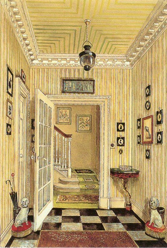 Interior - Ditchley Park - Watercolor by Serebriakoff: