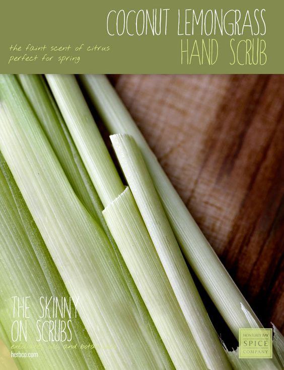 [ Spa Recipe: Coconut Lemongrass Hand Scrub ] Made with: Coconut oil, sea salt, Epsom salt, lemongrass essential oil. ~ from Monterey Bay Spice Co