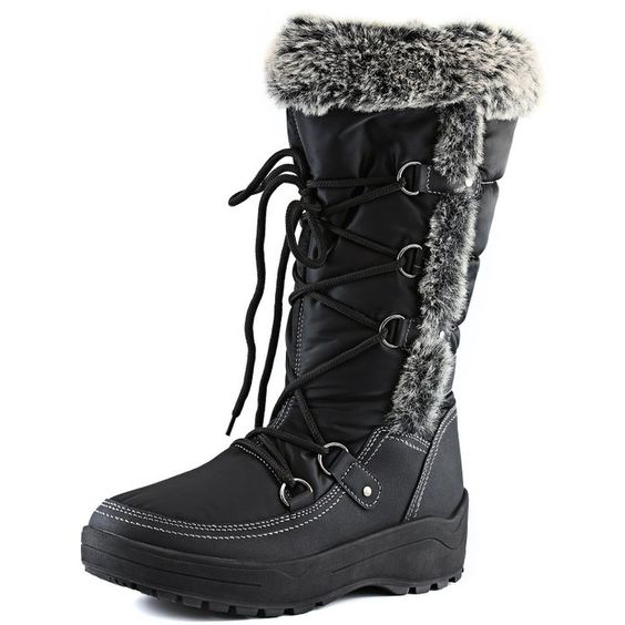 Women's DailyShoes Knee High Lace Up Warm Fur Water Resistant Eskimo Snow Boots,9 B(M) US,Warm Black