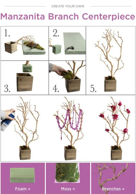 DIY Wedding Branch Centerpiece | Budget Bride Ideas | Afloral.com Branches and Wedding Decor