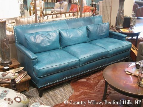 Turquoise Tight Back Leather Sofa With Nail Heads And Throw Pillows Country Willow Furniture