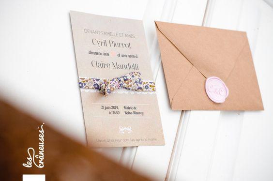 Le faire-part de mariage civil kraft et liberty de C&C réalisé par Les crâneuses - Wedding design.