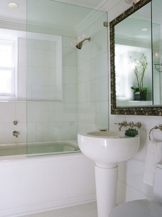 Bathroom Half Wall Glass Shower Bathtub Design Pictures Remodel Decor And Ideas Bathroom
