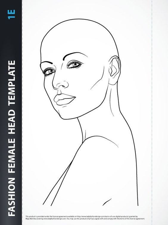 Hairstyle Female Head Template With Images Fashion Figure Templates Sketches Fashion Illustration Template
