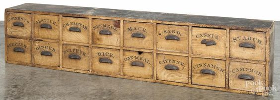 Large painted pine country store spice cupboard with two rows of labeled drawers - Price Estimate: $500 - $1000