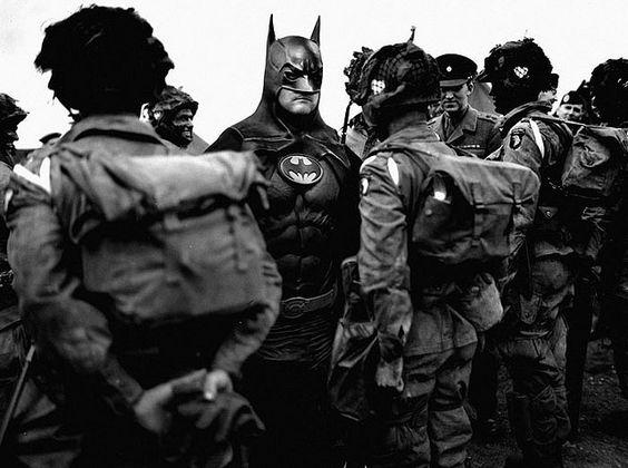 Homem-aranha, Batman e Hulk na guerra