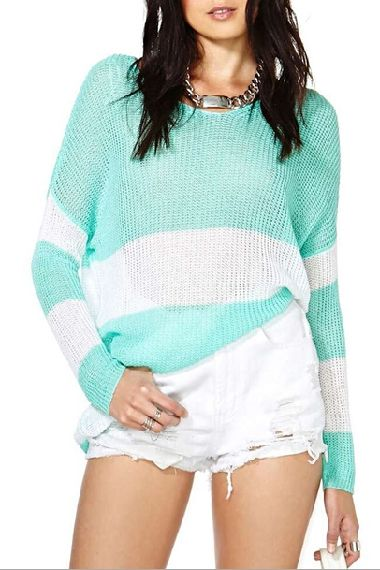 Color Block O-neck Long Sleeves Loose Sweater