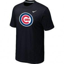 Wholesale Men Chicago Cubs Heathered Blended Short Sleeve Black T-Shirt_Chicago Cubs T-Shirt