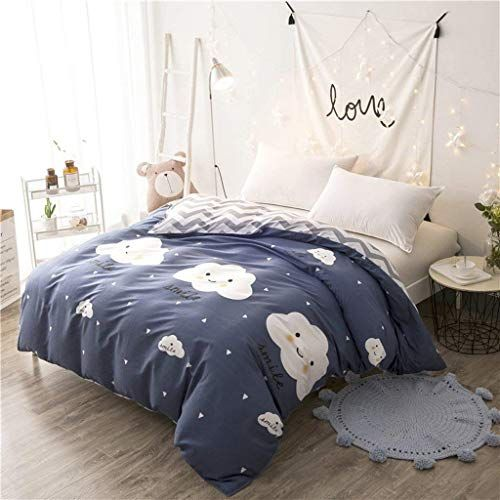 Yoioy Easy Care Duvet Cover Blue White Clouds Pattern Pure Cotton Quilt Cover Single Piece Student Dormit Blue Duvet Cover Cotton Quilt Covers Duvet Cover Sets