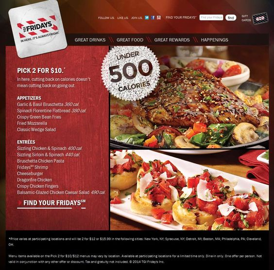Pinned February 10th: 2 for $10 on various appetizers & entrees going on at TGI #Fridays #coupon via The Coupons App